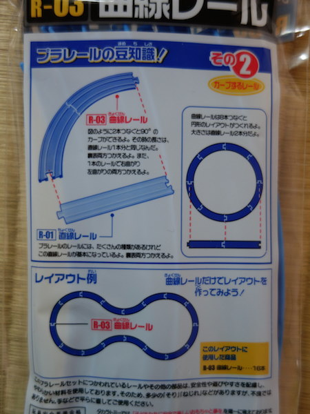R-03曲線レールのパッケージ裏